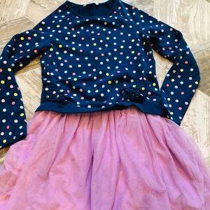 Girls polka dot sweater dress tulle bottom 10/12
